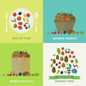 Banners with nuts and berries. Vector illustration — Stock vektor