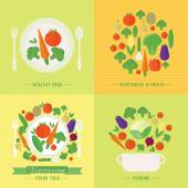 Vector banners, card with fresh fruits and vegetables — Vetorial Stock