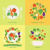 Vector banners, card with fresh fruits and vegetables — Stock vektor