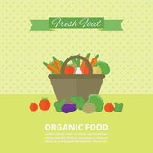 Vector banner, card with fresh fruits and vegetables — Vetorial Stock