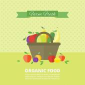 Vector banner, card with fresh fruits and berries — Vector de stock