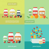 Jam and juice cards in flat style — Vector de stock