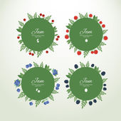 Collection labels with fresh berries — Stock Vector