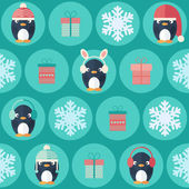 Christmas flat seamless pattern with gifts and penguins — Stock Vector