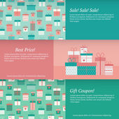 Set of banners with gift boxes. Vector illustration — Stock Vector