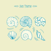 Set of vector objects ammonites and sea shells in sketch style — Stock Vector