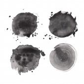 Set of watercolor round shapes — Vetor de Stock