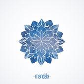 Watercolor blue lace pattern. Vector element. Mandala — Stock Vector
