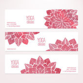 Vector banner templates with watercolor pink abstract flowers — Stockvektor