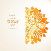 Watercolor sunflower. Vector background — Stock Vector
