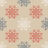 Seamless pattern with hand-drawn abstract flowers — Stock vektor