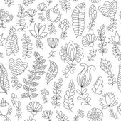 Seamless pattern with black and white doodle flowers — Stock Vector