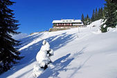 Winter at mountain chalet — Стоковое фото