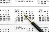 Pero na kalendáři — Stock fotografie