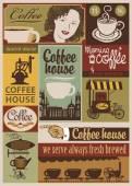 Coffee retro set — Stock Vector