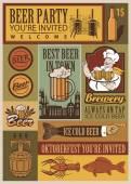 Beer retro set — Stock Vector