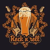 Beer and rock and roll — Cтоковый вектор