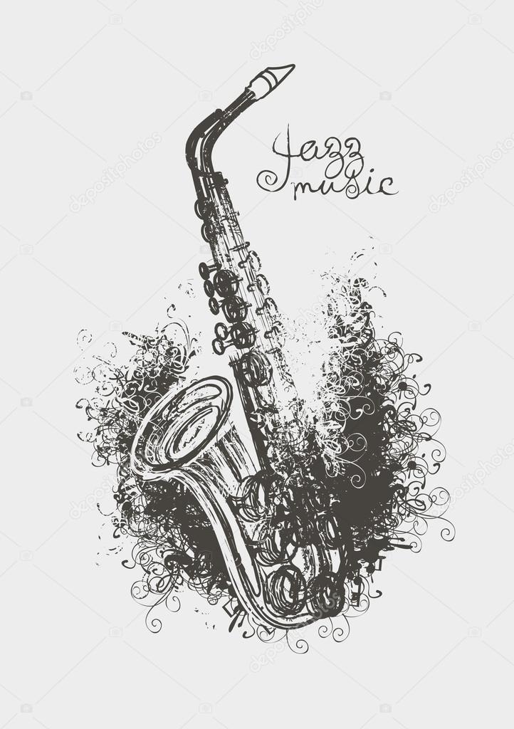 Rysunek saksofon grafika wektorowa paseven 96328864 - Dessin saxophone ...