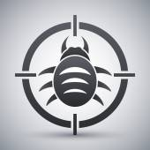 Black and white bug target icon — Stock Vector