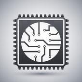 Black and white processor icon — Cтоковый вектор
