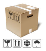 Cardboard box icon with fragile signs — Stock Vector