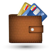 Leather wallet with credit cards — Stock Vector