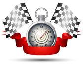 Cronometro con racing flag — Vettoriale Stock