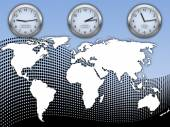 World time and map — Stock Vector