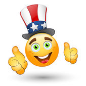 Smiling face with USA hat — Stock Vector