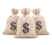 Three burlap money bags — Stock Photo