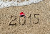 Happy new year 2015 with christmas hat — Stock Photo