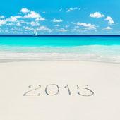 New Year 2015 on ocean beach — Stock Photo