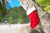 Christmas sock on palm tree at exotic tropical beach — Stock Photo