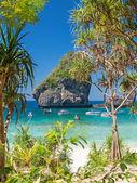Sunny Nui Bay Beach with yachts — Stock Photo