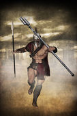 Gladiator attacks with trident — Stock Photo