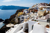 GREECE, SANTORINI- OCT 3: Top view to the sea and village Oia. O — Stock Photo