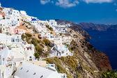 Grecja, Santorini-Oct 3: Góra widok na morze oraz miejscowości Oia. O — Zdjęcie stockowe