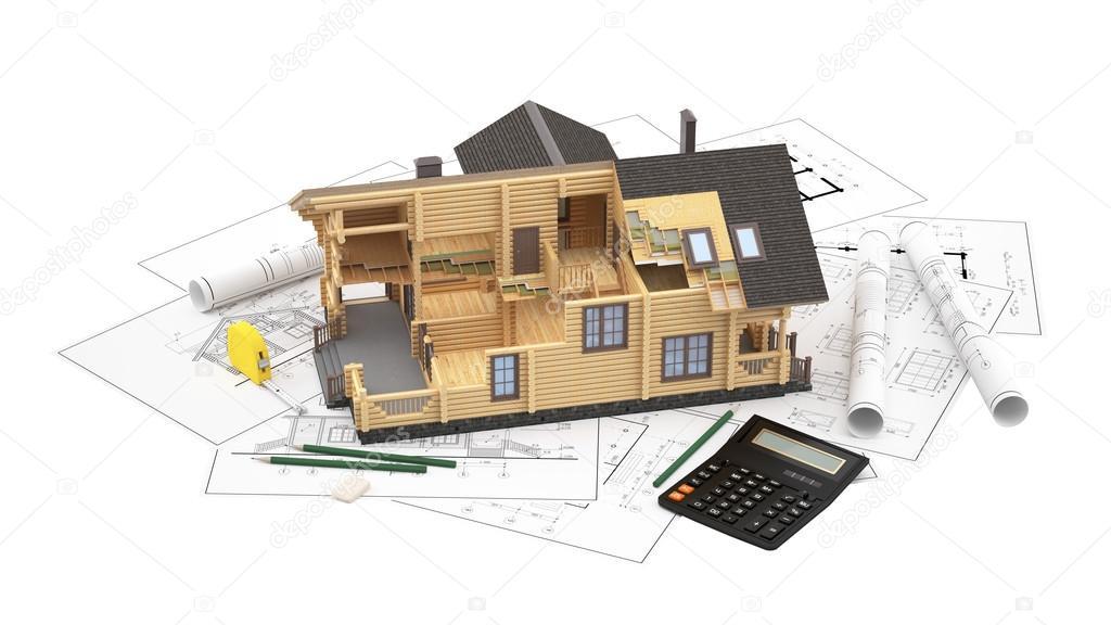 Il modello di una casa di tronchi sui disegni di sfondo for Piani di casa di 8000 piedi quadrati