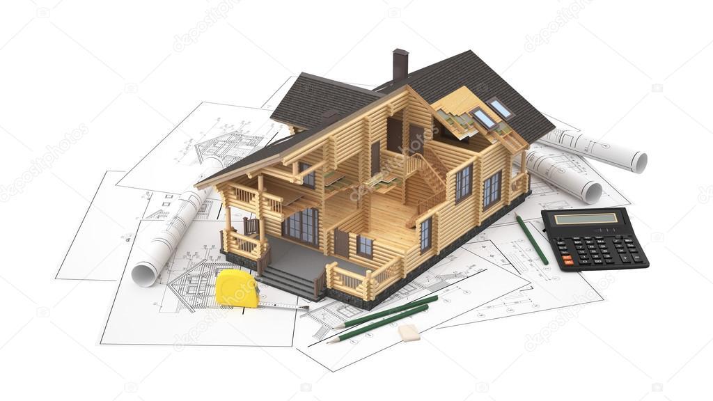 Il modello di una casa di tronchi sui disegni di sfondo for Immagini di modelli di casa