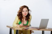 Beautiful business woman working with document in office. — Stock Photo