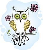 Owl on a branch with flowers — Stock Vector