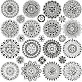 Big set of mandalas and flowers — Stock Vector