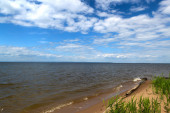 Russia, great river Volga vast spaces in summer sunny day — Stock Photo