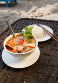 Tom Yam seafood soup served with rice — ストック写真