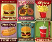 Vintage fast food poster design set — Stock Vector