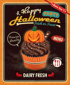 Vintage Halloween cupcake poster design — Stock Vector