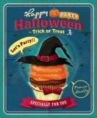 Vintage Halloween cupcake poster design — Stockvector