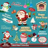 Vintage Noel tasarım ayarla — Stok Vektör