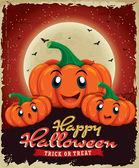 Vintage Halloween poster design with pumpkin — Stock Vector