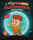 Vintage Halloween poster design with kid in costume — Stock vektor
